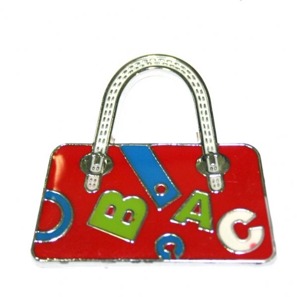 1pce x 39*38mm rhodium plated dark red handbag with letters enamel charm - SD03 - CHE1229